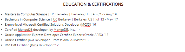Где размещать блок с сертификатами, курсами и наградами?