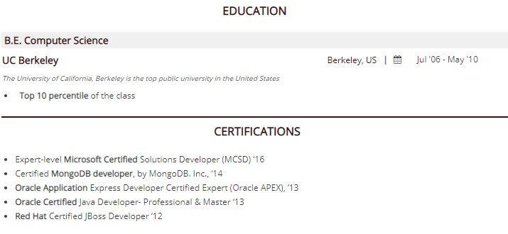 Как написать про сертификаты в резюме?