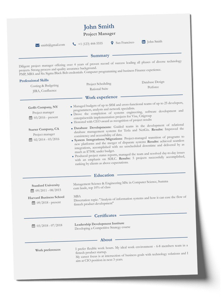 Resume in english example