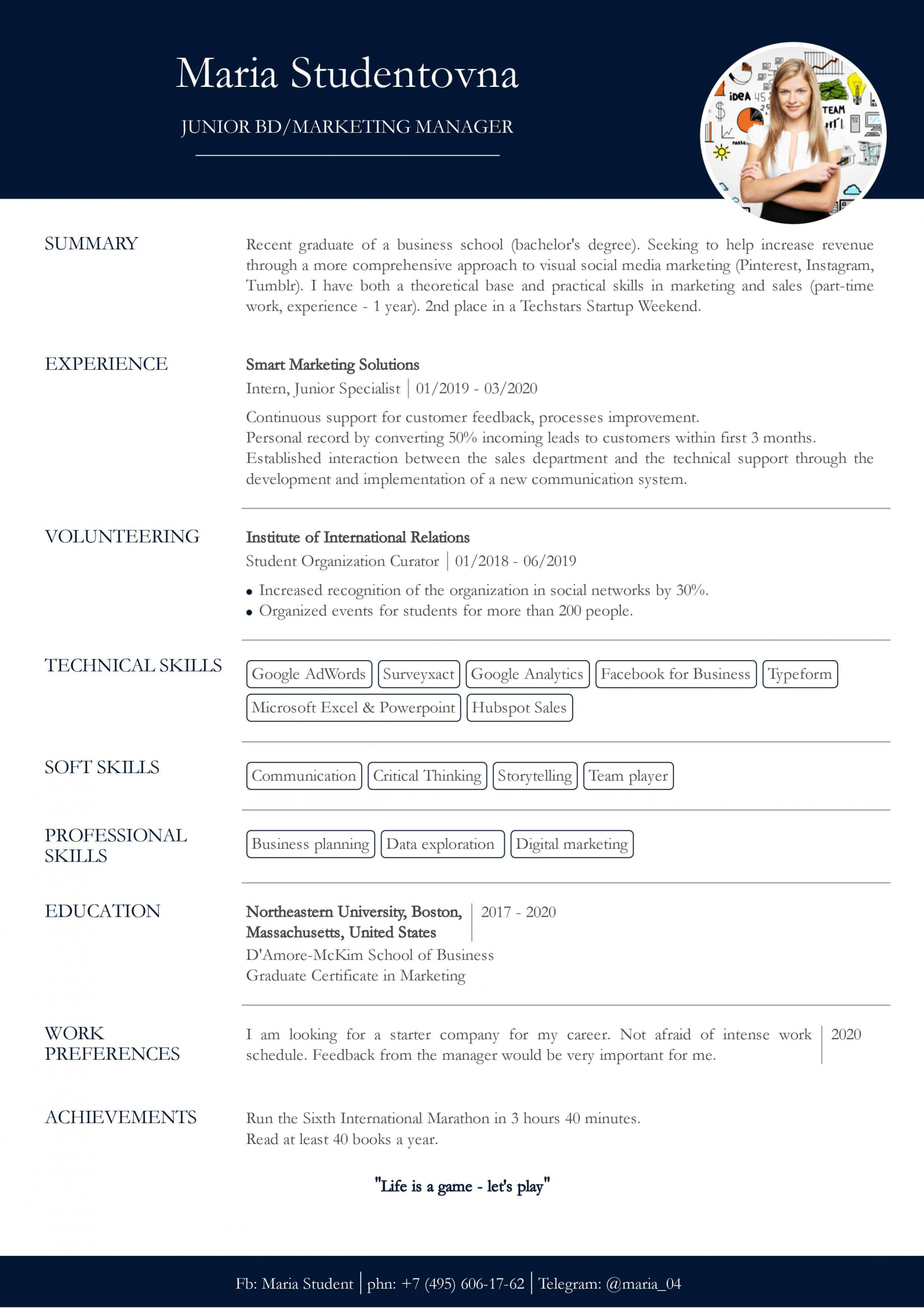 Resume with no experience template